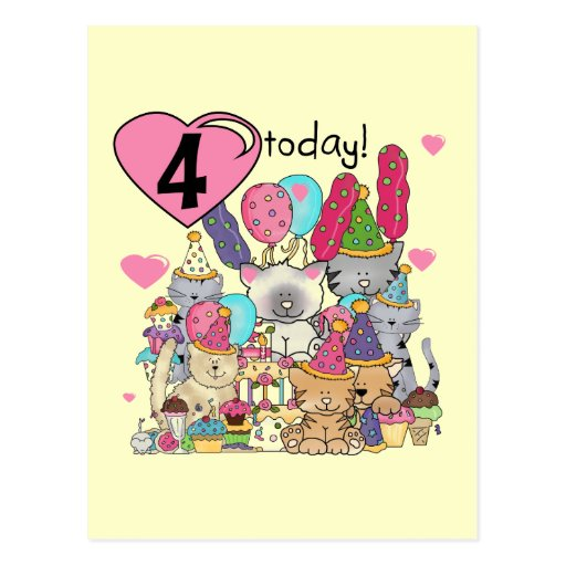 Party Kittens 4th Birthday T-shirts and gifts Postcards