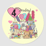 Party Kittens 4th Birthday T-shirts and gifts Sticker