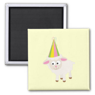 Party Lamb 2 Inch Square Magnet