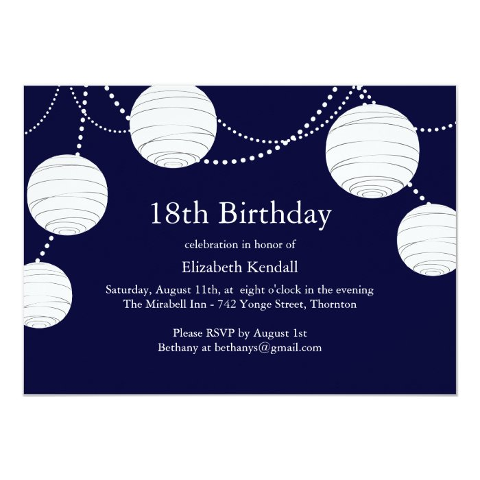 Party Lantern 18th Birthday Invitation Zazzle