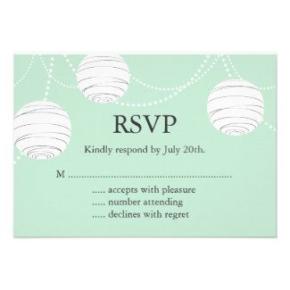Party Lanterns RSVP in Mint Green
