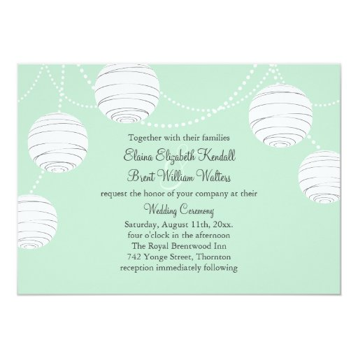 Party Lanterns Wedding Invitation in Mint Green
