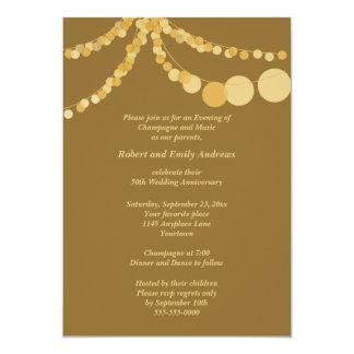 "Party Lights 50th Anniversary Dinner Invitation 5"" X 7"" Invitation Card"