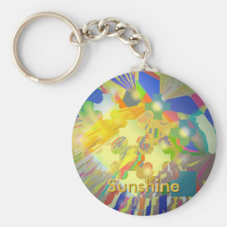 Party Lights Abstract with Customizable Text Basic Round Button Keychain