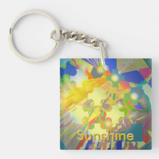 Party Lights Abstract with Customizable Text Keychain