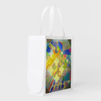 Party Lights Abstract with Customizable Text Reusable Grocery Bag
