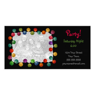 Party Lights Black Photocard Photo Greeting Card