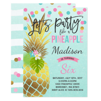 Party Like A Pineapple Birthday Invitation