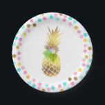 """Party Like A Pineapple Paper Plate 7&quot; Pink Gold<br><div class=""""desc"""">Party Like A Pineapple 7&quot; Paper Plate.  All designs are &#169; PIXEL PERFECTION PARTY LTD</div>"""
