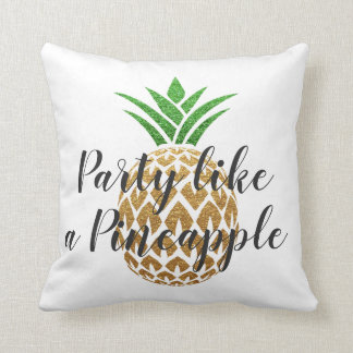 Party Like a Pineapple Tropical Birthday Throw Pillow