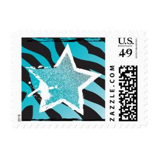 Party Like a Rockstar- Blue Glitter Star Stamp