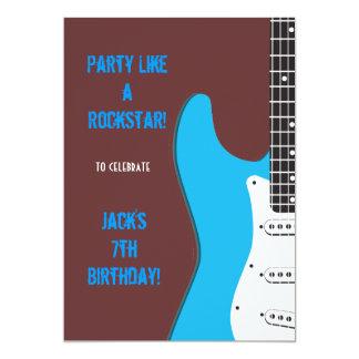 "Party Like a Rockstar blue 5"" X 7"" Invitation Card"