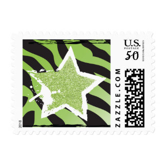 Party Like a Rockstar- Green Glitter Star Stamp