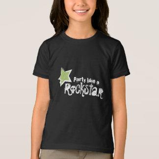 Party Like a Rockstar- Green Glitter Star T-shirt