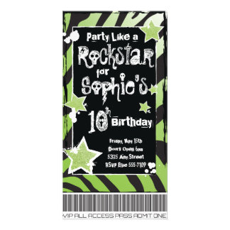 Party Like a Rockstar- Green Invitation Template