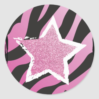 Party Like a Rockstar- Pink Glitter Star Sticker
