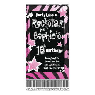 Party Like a Rockstar- Pink Invitation Template
