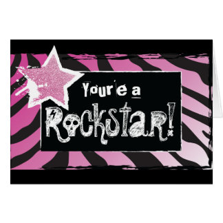 Party Like a Rockstar- Pink Thank You Card