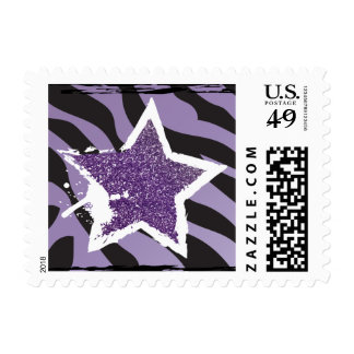 Party Like a Rockstar- Purple Glitter Star Stamp
