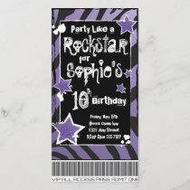 Party Like a Rockstar- Purple Invitation Template