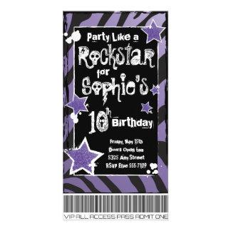 Party Like a Rockstar- Purple Invitation Template