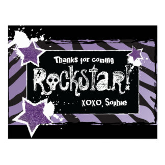 Party Like a Rockstar- Purple Thank You Post Card