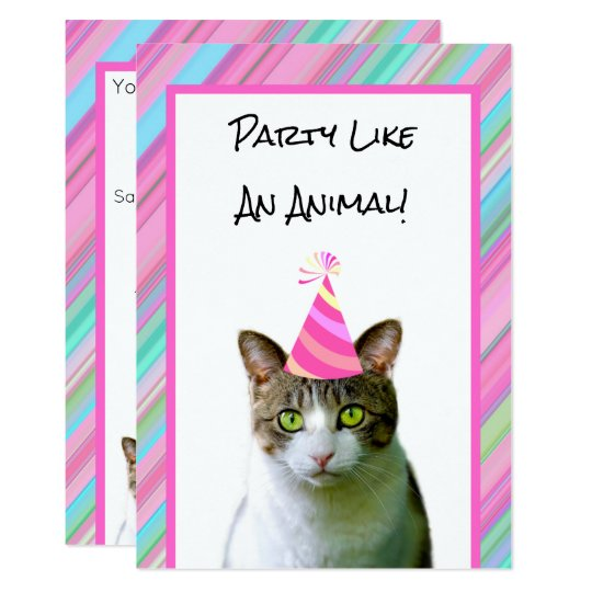Party Like An Animal Cat With Hat Birthday Invitation