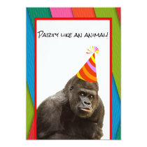 Party Like An Animal Gorilla With Hat Birthday Invitation