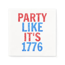 Party Like It's 1776 // July 4th Glitter Text Napkin