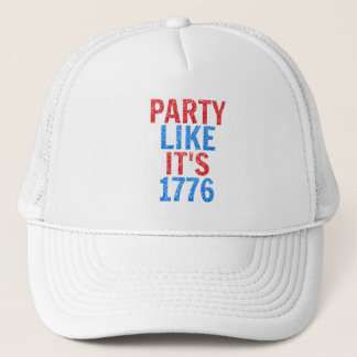 Party Like It's 1776 // July 4th Glitter Text Trucker Hat