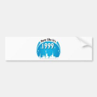 Party Like It's 1999 - Oval City Blue Bumper Sticker