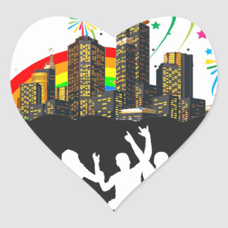 Party Like It's 1999 - Rainbow City Heart Sticker