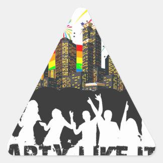 Party Like It's 1999 - Rainbow City Triangle Sticker