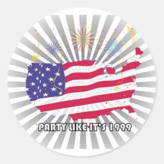Party Like It's 1999 - USA Classic Round Sticker