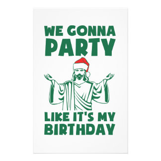 Party Like It's A Christmas Birthday Stationery