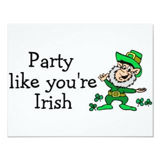 Party Like Youre Irish 4.25x5.5 Paper Invitation Card