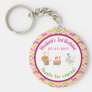 Party Lion and Sheep with Balloons Birthday Thanks Keychain