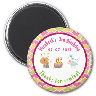 Party Lion and Sheep with Balloons Birthday Thanks Magnet