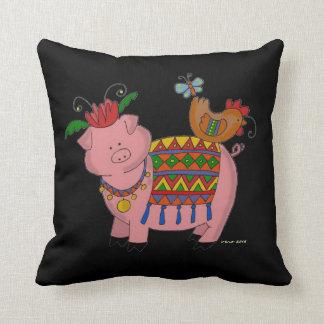Party Malanky Pig Ukrainian Folk Art Throw Pillow