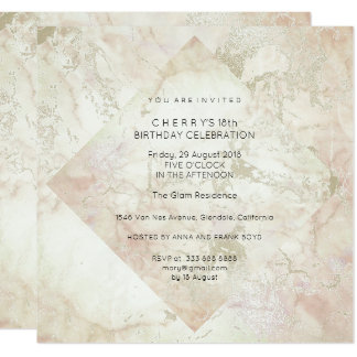 Party Marble Glitter Peach Powder Pink Gold Card