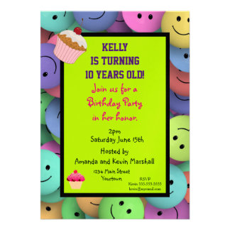 Party! Merry go round and happy faces Invites