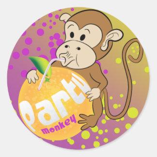 party monkey classic round sticker