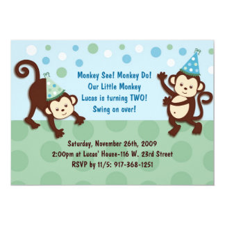 Party Monkeys Boy Monkey Birthday Invitation