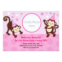 Party Monkeys Girl Monkey Birthday Invitation