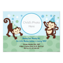 Party Monkeys Monkey Photo Birthday Invitation