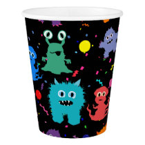 Party Monster Colorful Monsters Kids Party Paper Cup