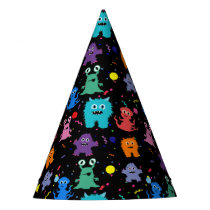 Party Monster Pattern Colorful Monsters Kids Party Party Hat