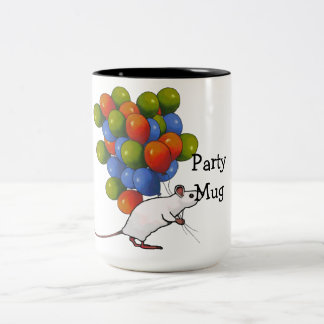 Party Mug: Cute Mouse With Lots of Balloons Two-Tone Coffee Mug