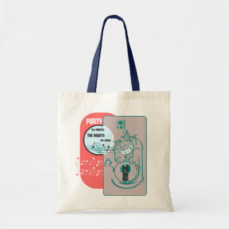 Party Music Cat Canvas Bags