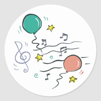 Party Music Classic Round Sticker